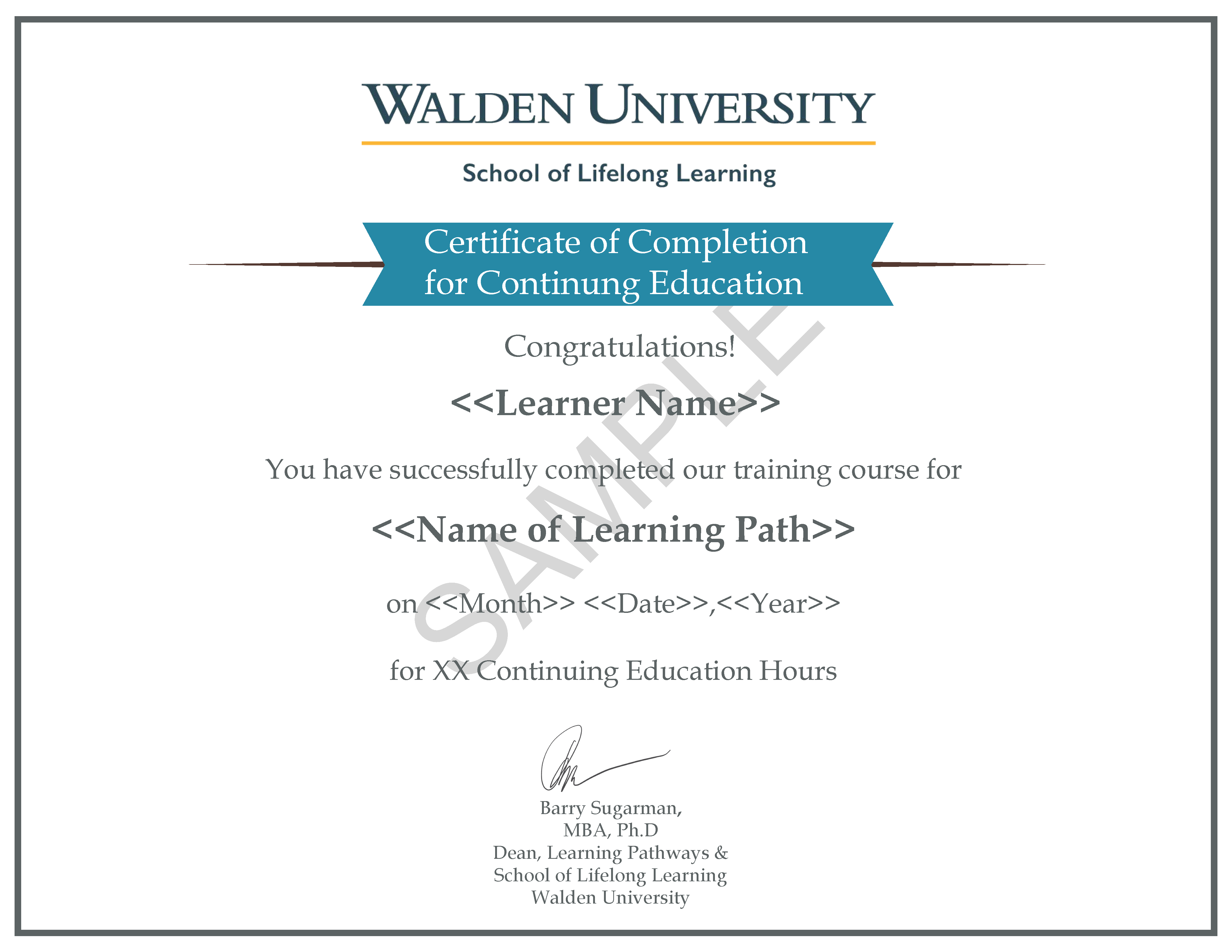 Certificate of Completion for Continuing Education